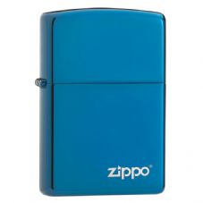 High Polish Blue With Logo Zippo Lighter